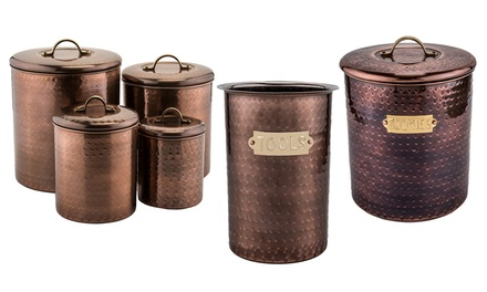 Old Dutch Antique Hammered Copper Kitchen Containers