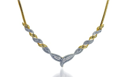 1/4-CTTW Diamond Fashion Necklace with Gold Finish