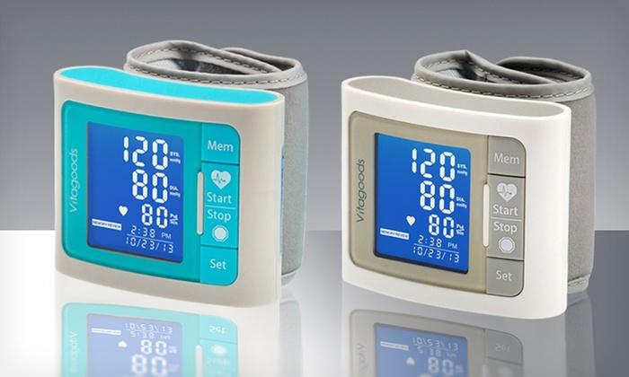 Digital Wrist-Cuff Blood-Pressure Monitor: Pulse Wrist-Cuff Blood-Pressure Monitor in Blue or White.