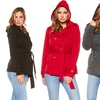 Women's Plus Size Hooded Coat with Wrap Around Belt
