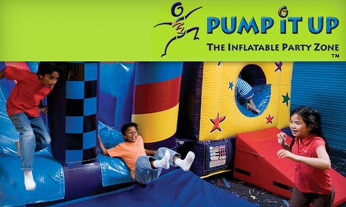Pump It Up, The Inflatable Party Zone - Multiple Locations: $10 for Three Pop-In Playtimes at Pump It Up (Up to $30 Value). Eleven Locations Available.