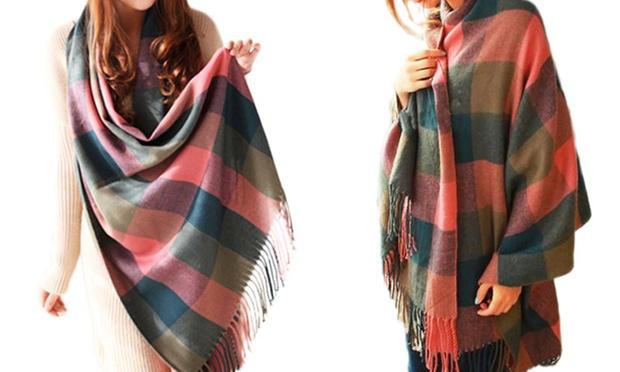 Echarpe en laine grands carreaux groupon for Echarpe a carreaux