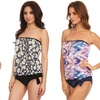 Missy Contemporary Bandeau Blouson Tankini with Bottoms
