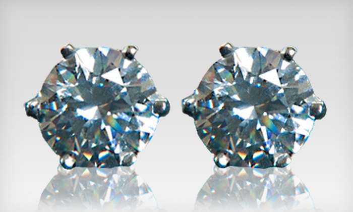 Sterling Silver Earrings Made with Swarovski Zirconia: $19 for a Pair of 6mm Sterling-Silver Earrings Made with Swarovski Zirconia ($69.99 Value). Shipping Included.