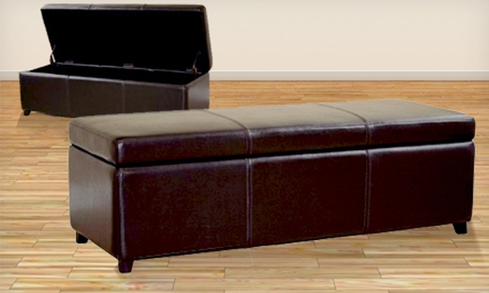 61% Off A Brown Leather Storage Bench Ottoman