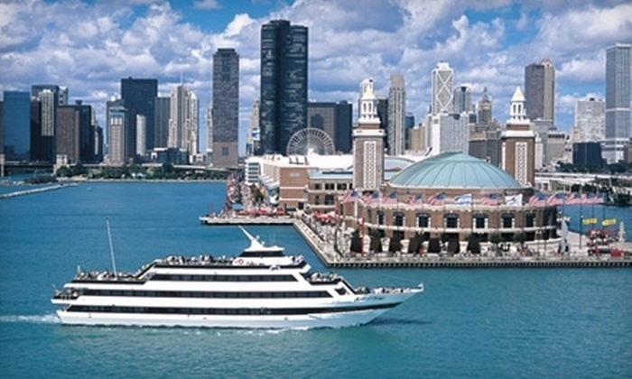 """Mystic Blue"" and ""Spirit of Chicago"" Cruises at Navy Pier - Near North Side: Dinner Cruise with Fireworks Option from the Mystic Blue and Spirit of Chicago Cruises at Navy Pier (Up to 52% Off)"