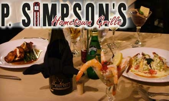 P. Simpson's Hometown Grille - Simpsonville: $15 for $30 Worth of Fresh American Fare and Drinks at P. Simpson's Hometown Grille in Simpsonville