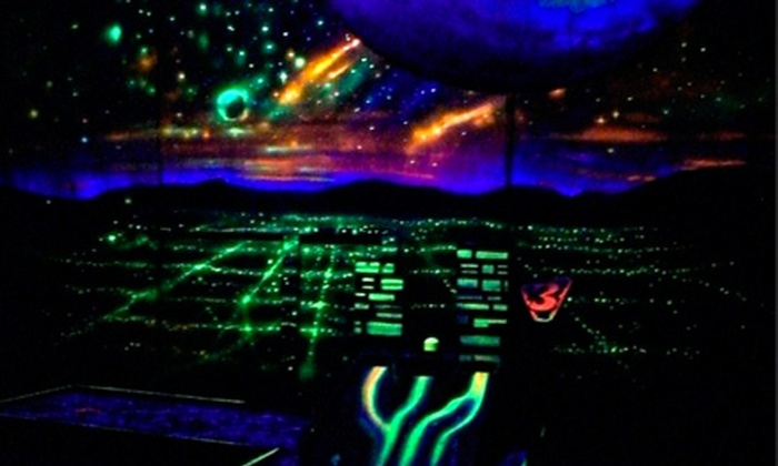 Galactic Glow Putt - Downtown,Downtown West: Mini-Golf Outing for Two or Four at Galactic Glow Putt (53% Off)
