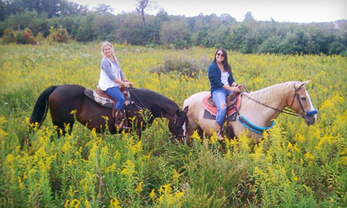 Equestrian Ridge Farm - New Plymouth: $72 for Introductory Lesson, Trail Ride, and Picnic Lunch for Two from Equestrian Ridge Farm in New Plymouth ($145 Value)