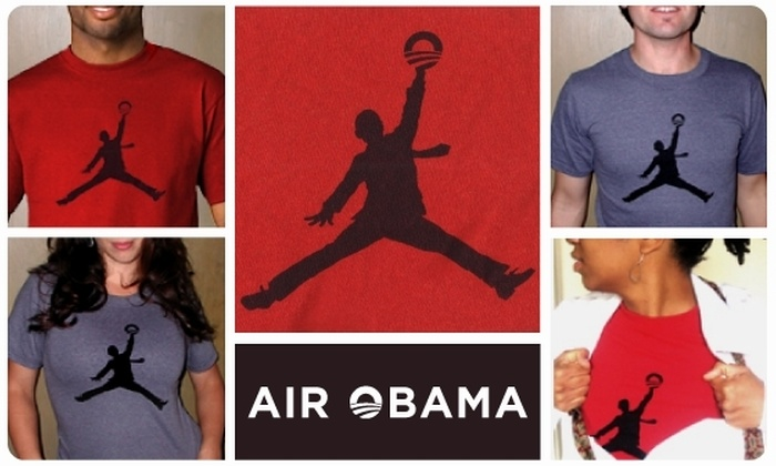 "laura cat shoppe - Chicago: ""Air Obama"" Recycled Cotton T-Shirt"