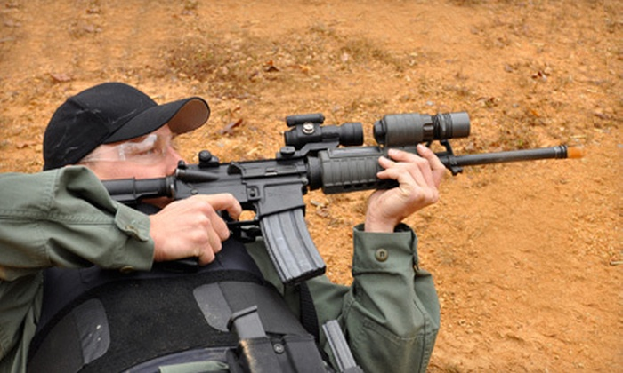 Combat Shooting Sports Inc - Southport: $39 for an Airsoft Outing for Four Including All-Day Admission, Guns, Safety Goggles, and Vests at Combat City ($140 Value)