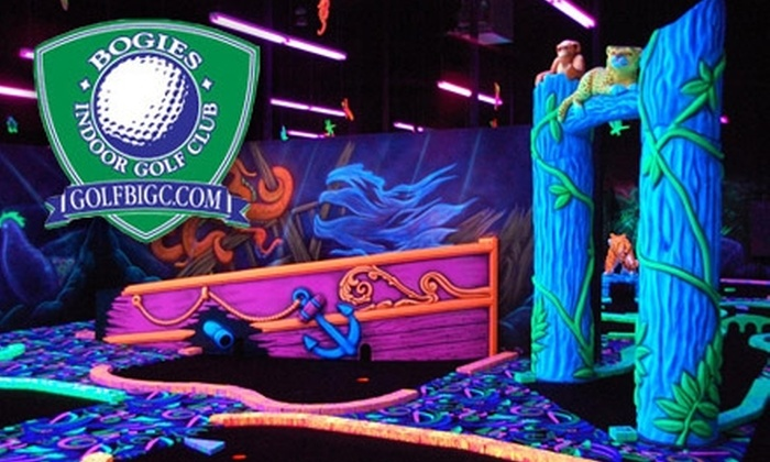 Bogies Indoor Golf Club - Multiple Locations: Glow-in-the-Dark Mini Golf at Bogies Indoor Golf Club. Choose Between Two Options.
