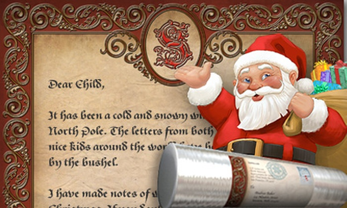 """Santa.com: $9 for a 10""""x17"""" Personalized Letter from Santa.com ($19.99 Value)"""