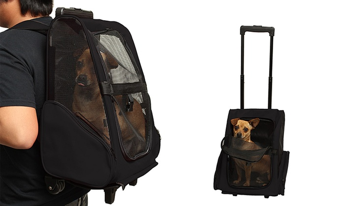 76% Off on Rolling Backpack Pet Carrier | Groupon Goods