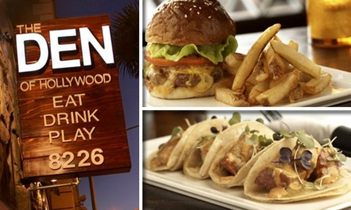 The Den Of Hollywood - Hollywood: $25 for $50 Worth of Fancy Pub Grub and Refined Drinks at The Den of Hollywood