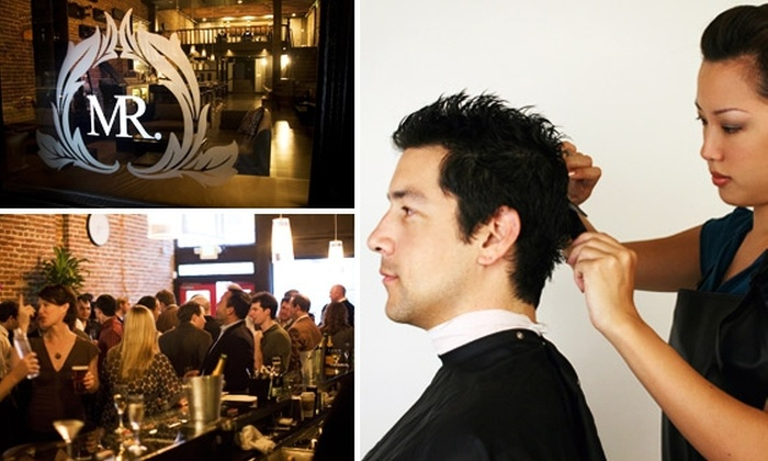 MR. Barbershop and Urban Lounge - Financial District: $50 for Haircuts or Shaves, Trims, and Drinks at MR. Barbershop and Urban Lounge