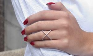"Sterling Silver Pavé ""x"" Ring"