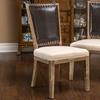 Amari Weathered Wood Beige Dining Chairs (Set of 2)