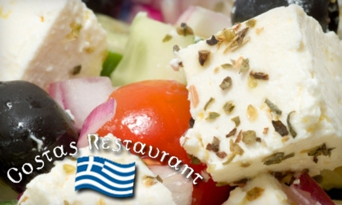 Costas Restaurant - Tarpon Springs: $10 for $20 Worth of Greek Dishes and Seafood at Costas Restaurant