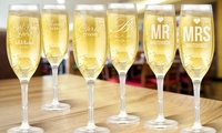 Personalised Champagne Glass - One ($16.99), Two ($29.99) or Eight ($109.98), Redeem Online (Don't Pay up to $279.92)