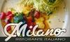 Milano Ristorante Italiano - Multiple Locations: $20 for $40 Worth of Fine Italian Fare at Milano Ristorante Italiano