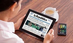 """Abbonamento digitale - La Repubblica: 3 mesi di abbonamento a """"La Repubblica"""" in versione digitale, compatibile con tutti i dispositivi (sconto 82%)"""
