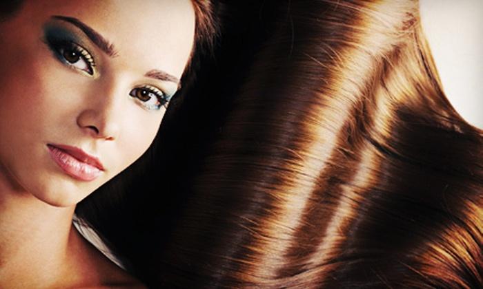 Lolamax Salon - East Bloomington: Lip and Brow Wax, Haircut, Keratin Treatment, or All Three Services at Lolamax Salon (Up to 67% Off)