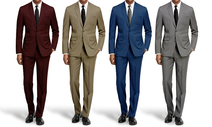 Braveman Slim Fit Suits with Free Tie & Dress Socks