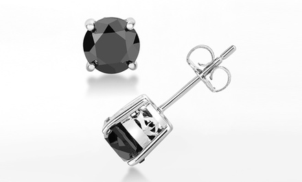 3 or 4 Carat Total Weight Black Diamond Stud Earrings