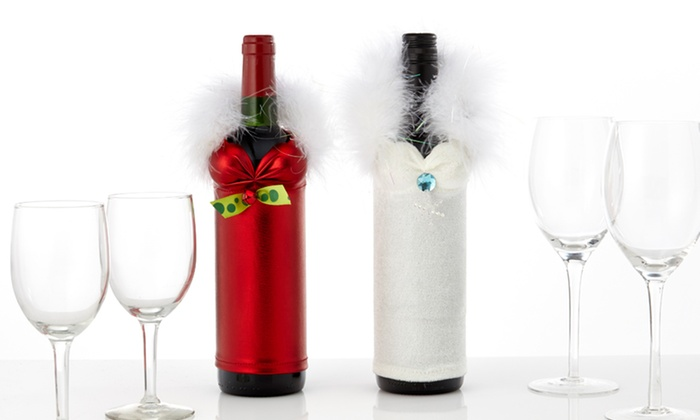 Set of 2 Holiday Wine Bottle Babes: Set of 2 Holiday Wine Bottle Babes in Red or White