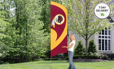 NFL 8.5'x2.5' Tall Team Flag with 11.5' Steel Pole. Multiple Teams Available. Free Returns.