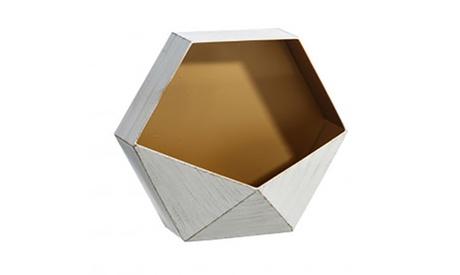 Macetero geométrico de pared acabado en blanco y dorado Oferta en Groupon