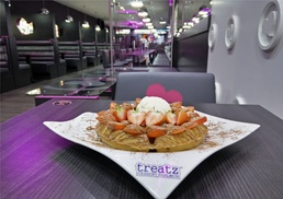 Treatz Southampton: Waffle, Crêpe or Cookie Dough with Ice Cream and Hot Drink for Up to Four at Treatz Southampton (Up to 57% Off)