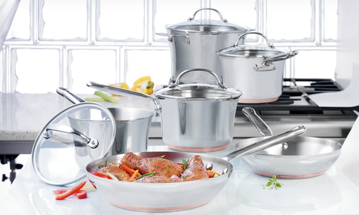 $169.99 for a KitchenAid Gourmet Distinctions Stainless Steel Cookware Set  ($440 List Price). Free Shipping & Returns.