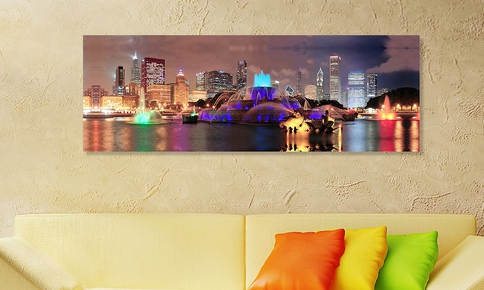 "14""x48"" Panoramic Cityscape on Gallery-Wrapped Canvas: 14""x48"" Panoramic Cityscape on Gallery-Wrapped Canvas. Multiple Cities Available. Free Shipping and Returns."