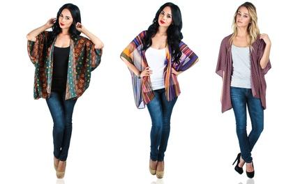 Women's Plus Size Printed Kimono Cardigan