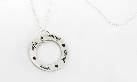 Monogram Online Personalized Circle Necklace with Name and Hearts