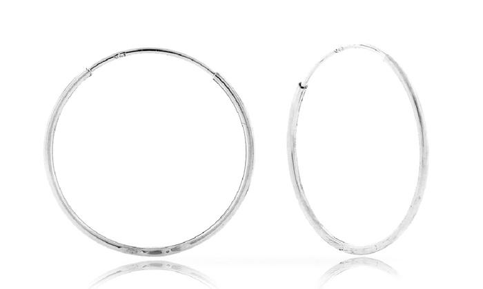 14k White Gold Endless Hoop Earrings Best All Earring Photos