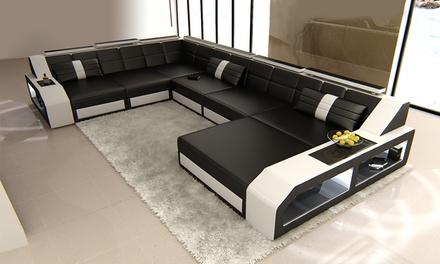 luxus designersofa aus leder groupon goods. Black Bedroom Furniture Sets. Home Design Ideas