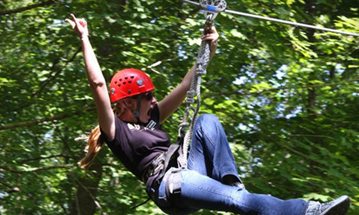 Mammoth Cave Adventures - Cave City: Ziplining and Mammoth Cave Drop Tower for Two or Four  at Mammoth Cave Adventures (Up to 53%Off)