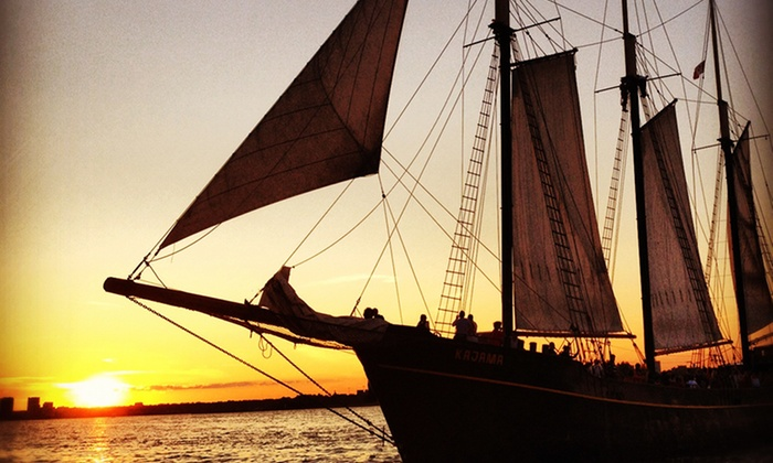 """Great Lakes Schooner - Toronto: C$14 for Sunset or Day Sail on Tall Ship """"Kajama"""" from Great Lakes Schooner Company (Up to C$27.06 Value)"""