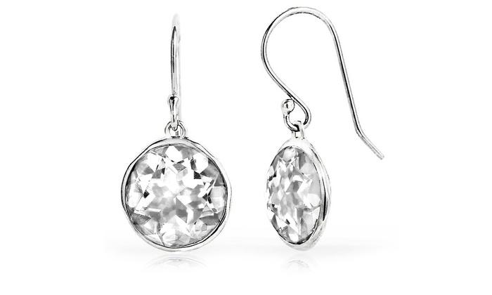 3 00 Cttw Genuine White Topaz Lollipop Drop Earrings In Sterling Silver