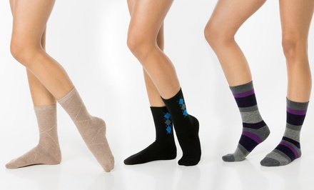 3-Pair Pack of Passione Legwear Women's Cushioned Luxury Blend Crew Socks