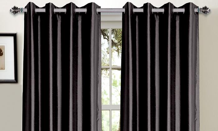 Bella Luna Blackout Curtains: Bella Luna Faux-Silk Foam-Back Blackout Curtains. Multiple Colors Available. Free Returns.