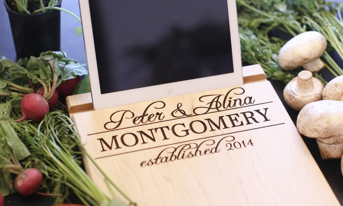 Morgann Hill Designs: One or Two Personalized Cutting-Board Tablet Stands from Morgann Hill Designs (Up to 54% Off)