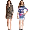 3/4 Sleeve Tunic Print Dress