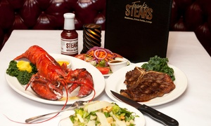 Frank's Steaks: Surf & Turf Dinner for Two at Zagat-Rated Frank's Steaks (Up to 44% Off). Two Options Available.
