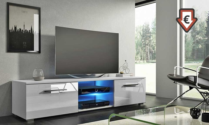 meuble tv tenus led groupon shopping. Black Bedroom Furniture Sets. Home Design Ideas