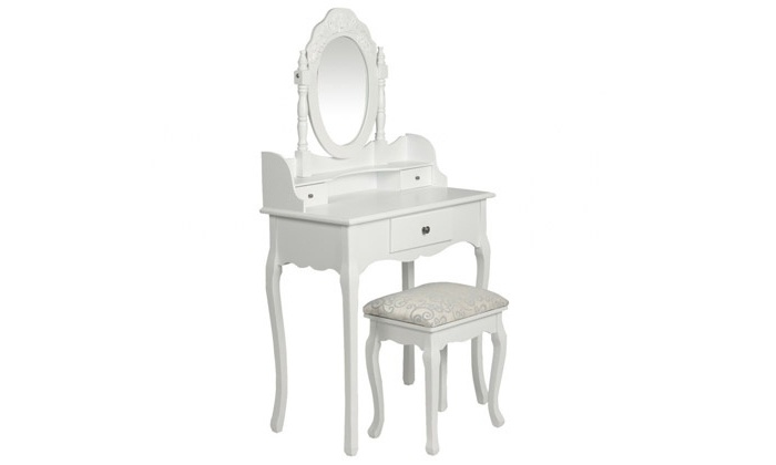 Coiffeuse miroir et tabouret groupon shopping for Coiffeuse avec miroir et tabouret