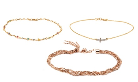 Ankle Bracelets in 18K Gold or Rhodium Over Brass
